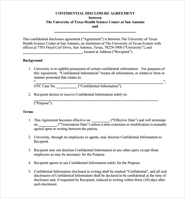 10 confidential disclosure agreements sample templates for Cda agreement template