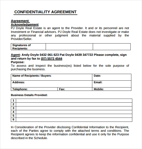 Sample Real Estate Confidentiality Agreement   Free Documents