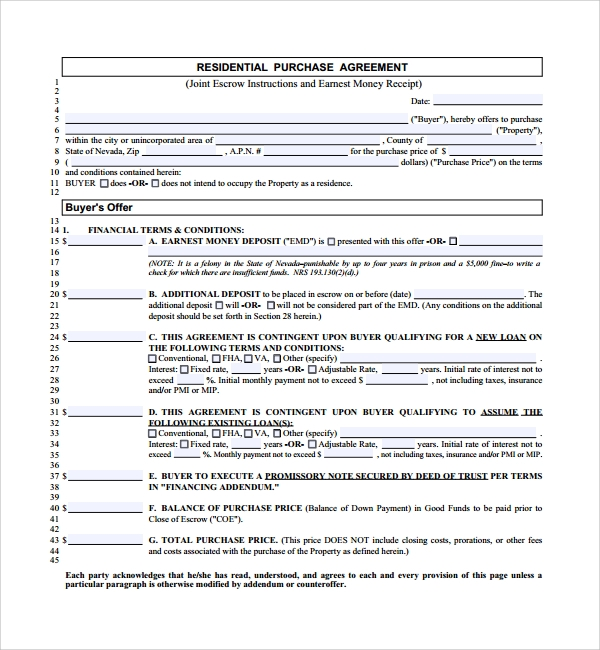 residential purchase agreement sample