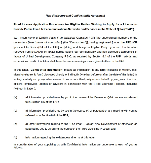 Sample Real Estate Confidentiality Agreement 9 Free Documents – Real Estate Confidentiality Agreement