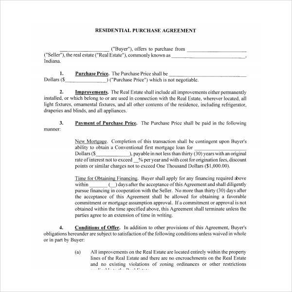 Sample Residential Purchase Agreement 7 Free Documents Download – Residential Purchase Agreements