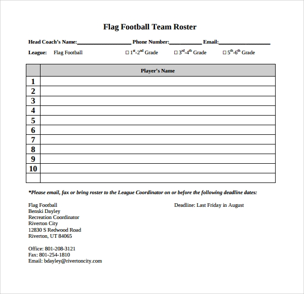 Sample Football Roster Template   Free Documents Download In Word