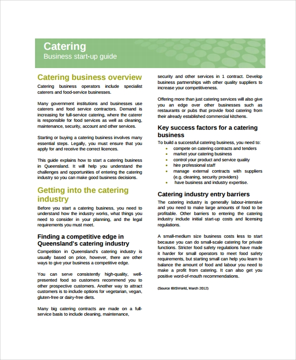 catering business plan outline