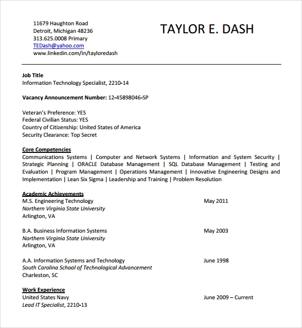 Sample It Cv Template   Free Documents Download In Word Pdf