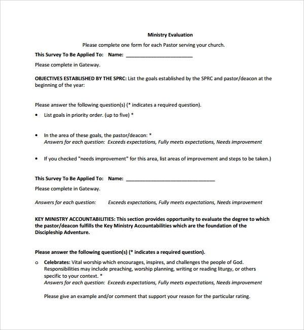 Sample Leadership Evaluation Form   Free Documents Download In