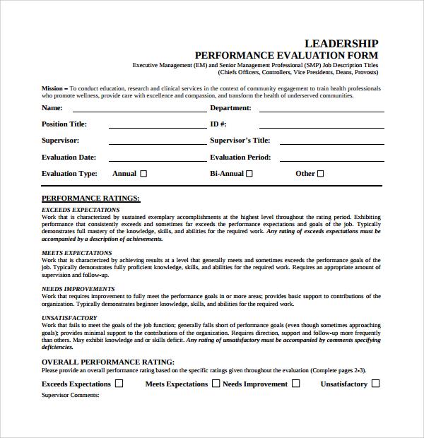 leadership performance evaluation form
