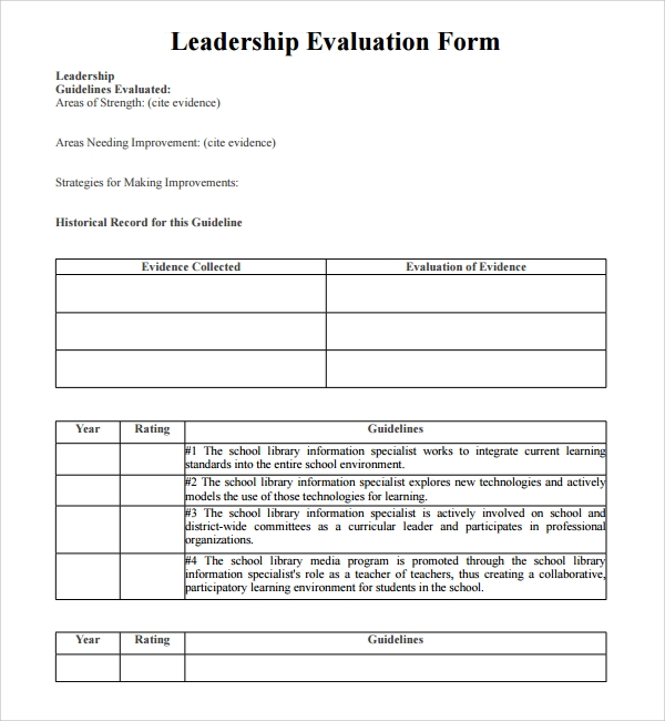 sample leadership evaluation form 9 free documents With leadership evaluation form templates