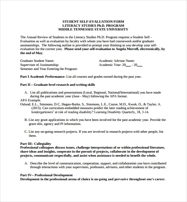 10 leadership evaluation forms sample templates for Student self evaluation templates