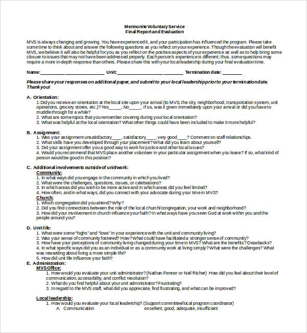 basic leadership evaluation form