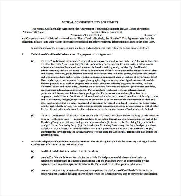 Sample Mutual Confidentiality Agreement 7 Free Documents – Standard Confidentiality Agreement