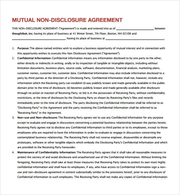 Sample mutual confidentiality agreement 7 free for Non circumvention non disclosure agreement template