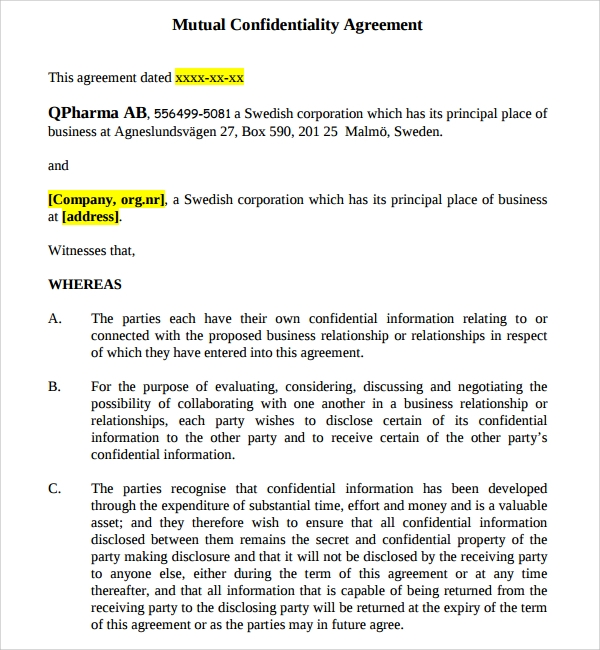 Mutual Confidentiality Agreement  Mutual Agreement Template
