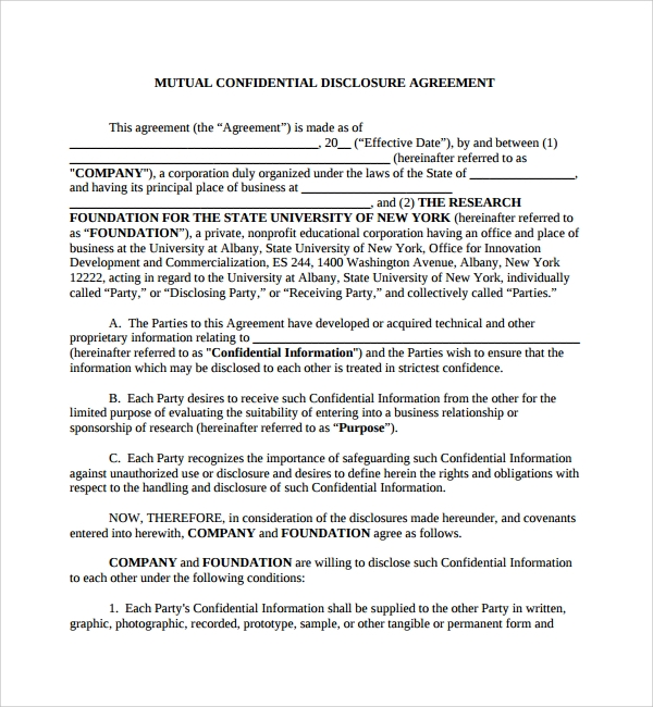 Sample Mutual Confidentiality Agreement 8 Free Documents Download