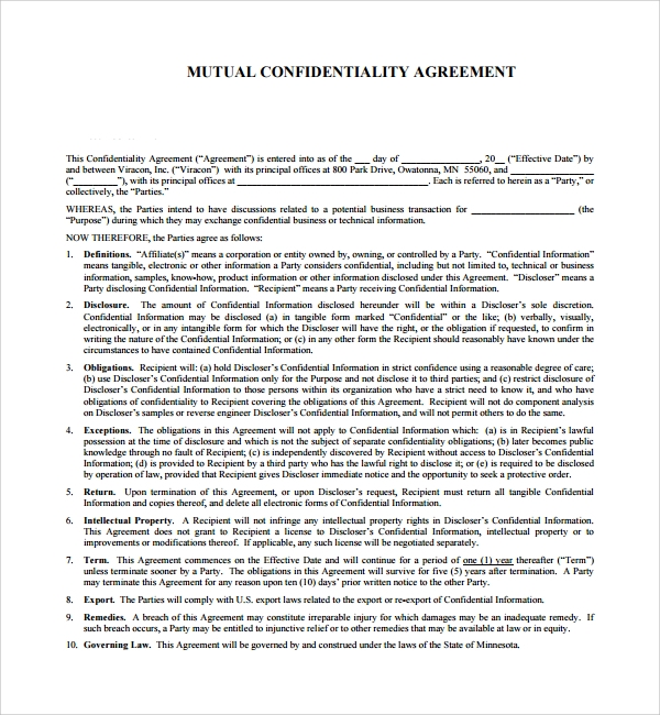 8 Mutual Confidentiality Agreements Sample Templates