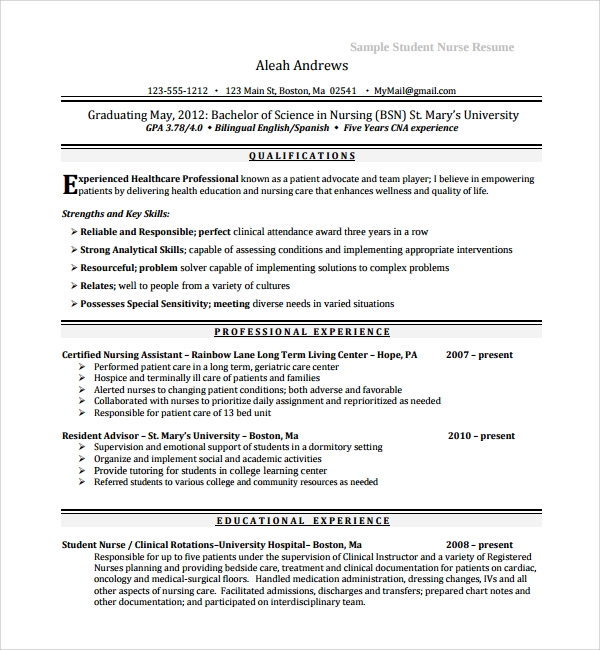 Sample Nurse Cv Template   Free Documents Download In Word Pdf