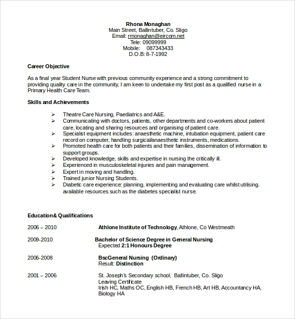 sample nurse cv template