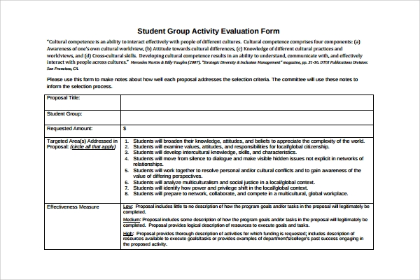 Sample Group Activity Evaluation Template   Free Documents