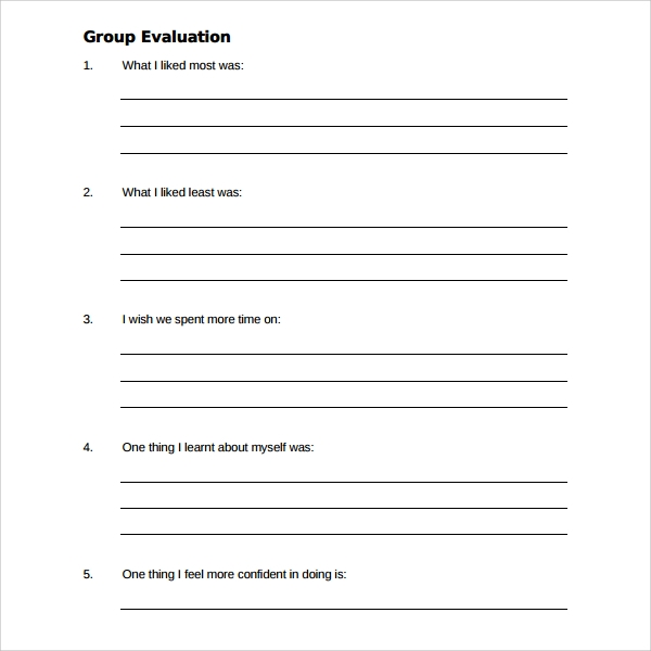 Sample Group Activity Evaluation Template - 6+ Free Documents