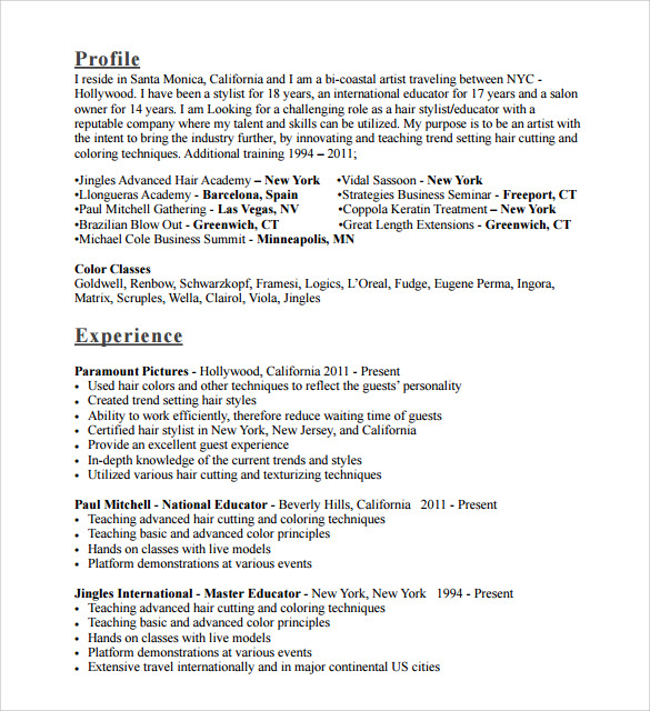 Hair Stylist Resumes | Sample Hair Stylist Cv Template 6 Free Documents Download In Pdf Doc
