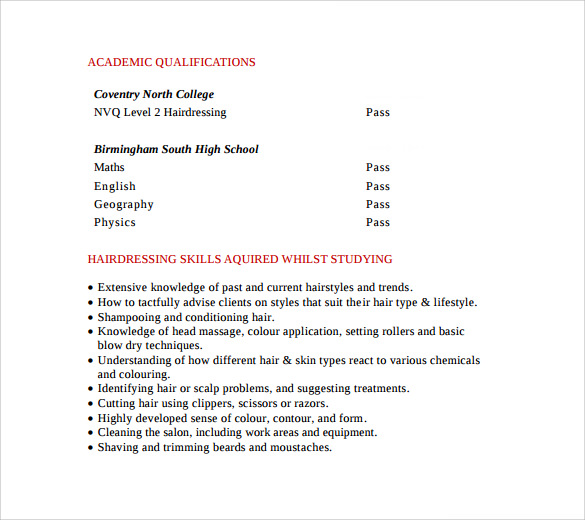 sample hairstylist cv