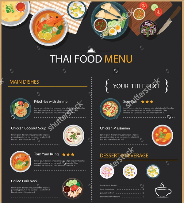 vector thai food restaurant menu
