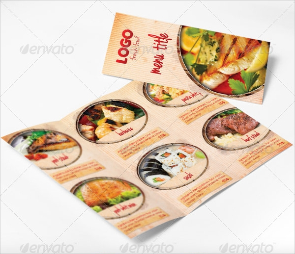 food menu tri fold brochure