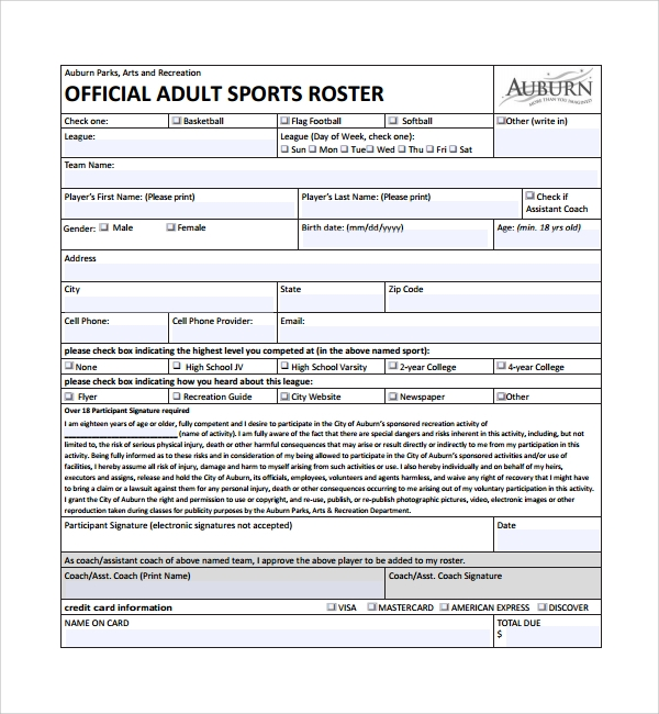 Sample Sports Roster Template 7 Free Documents Download in PDF – Sports Roster Template