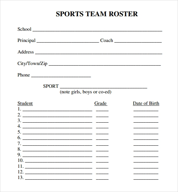 Football Roster Template Sports Team Roster Template Sample Sports