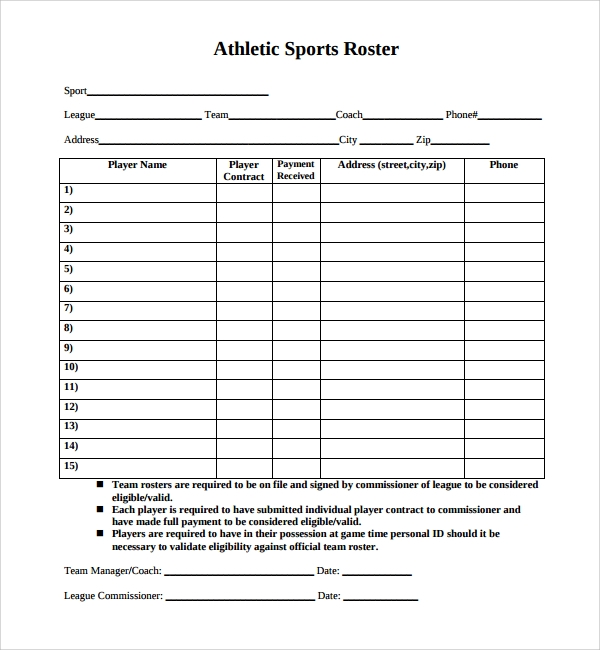 8  sports roster templates