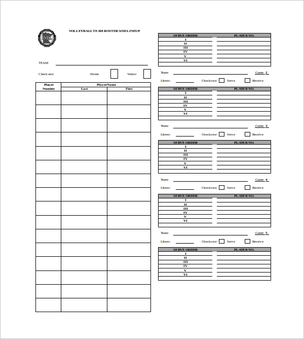 Sample Volleyball Roster Template 6 Free Documents Download In – Volleyball Roster Template