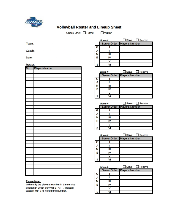 7 sample volleyball roster templates pdf word sample for Soccer starting lineup template