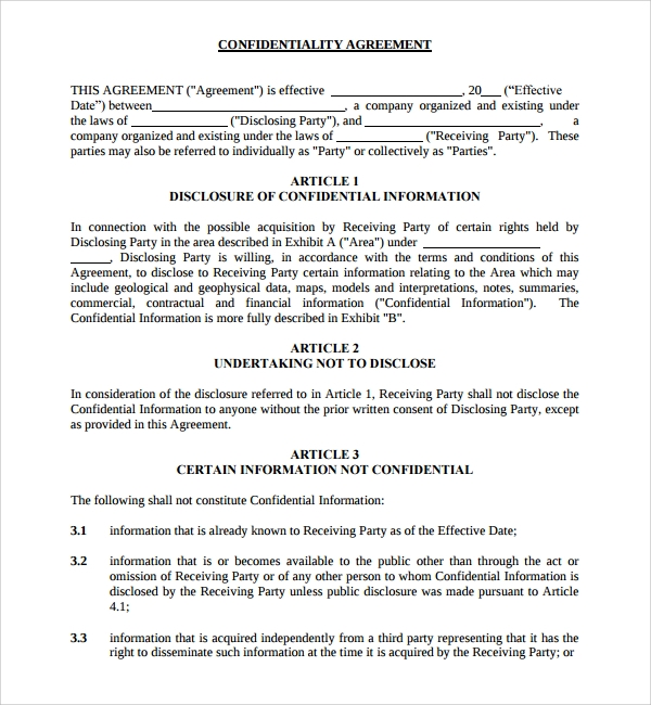 aipn standard confidentiality agreement template