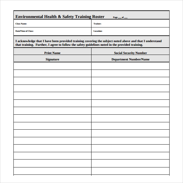 safety training calendar template - 8 training roster templates sample templates