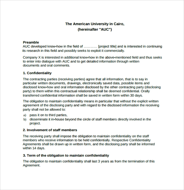Sample Standard Confidentiality Agreement 7 Free Documents – Standard Confidentiality Agreement