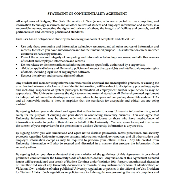 statement of standard confidentiality agreement