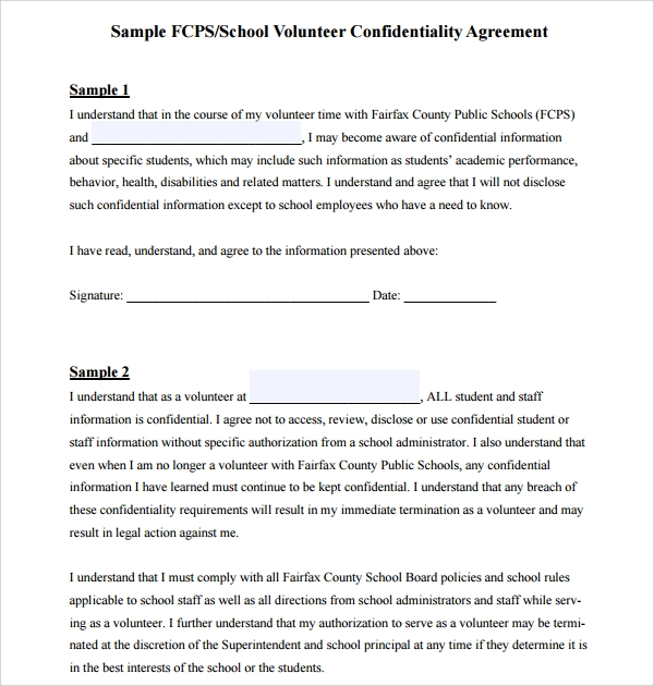 Sample Volunteer Confidentiality Agreement Template   Free