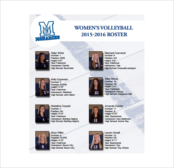 Volleyball Roster And Lineup Sheet Templates – Volleyball Roster Template