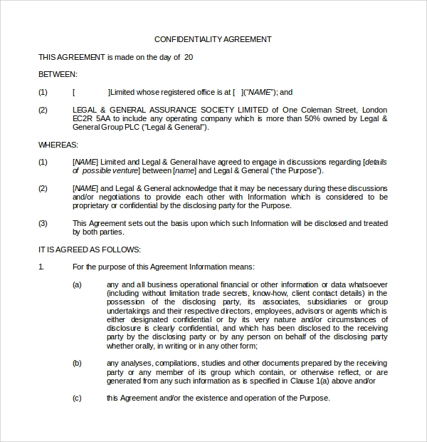 public relations agreement template - 8 standard confidentiality agreements sample templates
