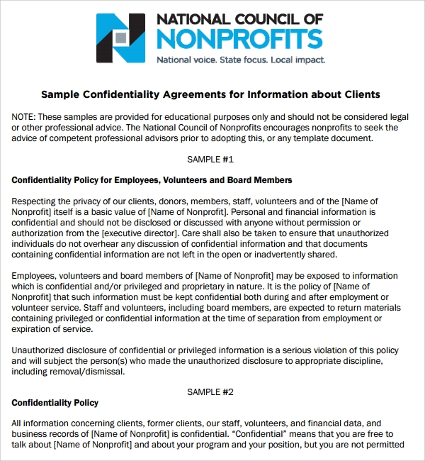 Non Profit Volunteer Confidentiality Agreement Template
