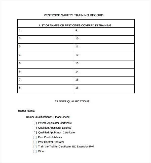 sample training record templates