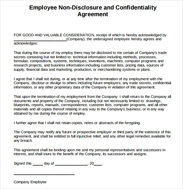 Employee Confidentiality Agreement Student Employee Financial
