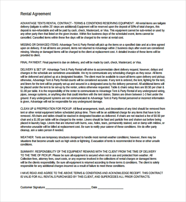 Sample Business Rental Agreement - 7+ Free Documents Download In