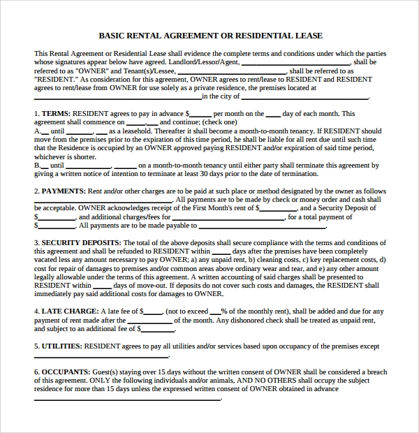 8 business rental agreements sample templates basic business rental agreement flashek Choice Image