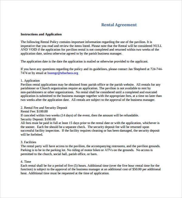 Sample Business Rental Agreement   Free Documents Download In