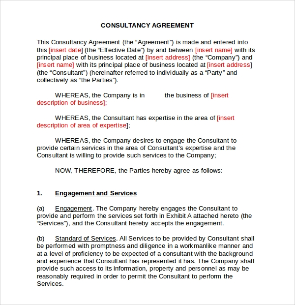 Consultant Agreement Business Consultant Agreement Template