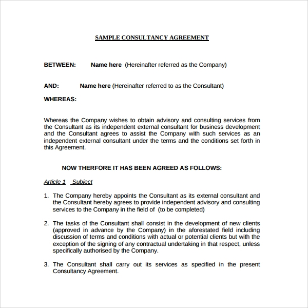 Sample Business consulting Agreement - 7+ Free Documents Download ...