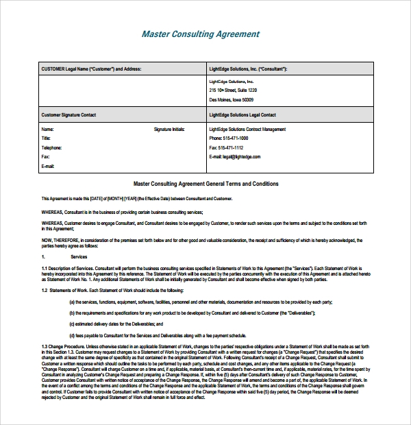 Sample Business Consulting Agreement   Free Documents Download
