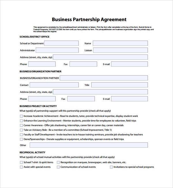 8 business partner agreements sample templates for Corporate partnership agreement template