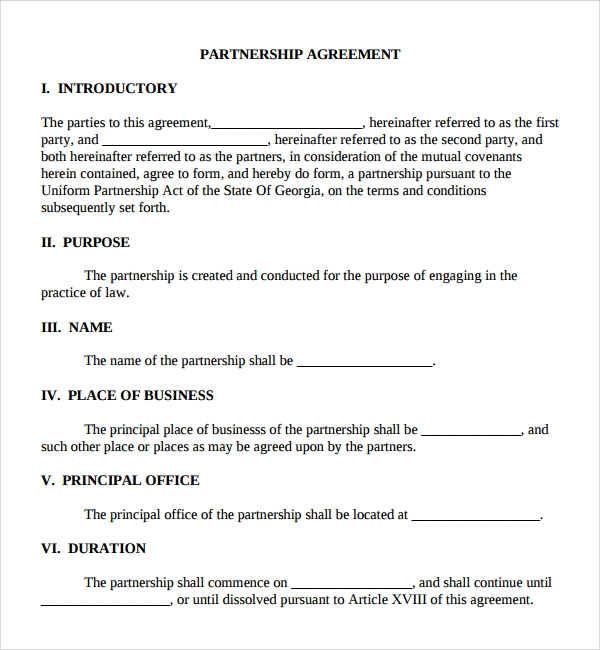 Sample Business Partner Agreement   Free Documents Download In