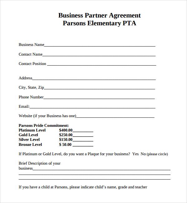 Sample Business Partner Agreement 7 Free Documents